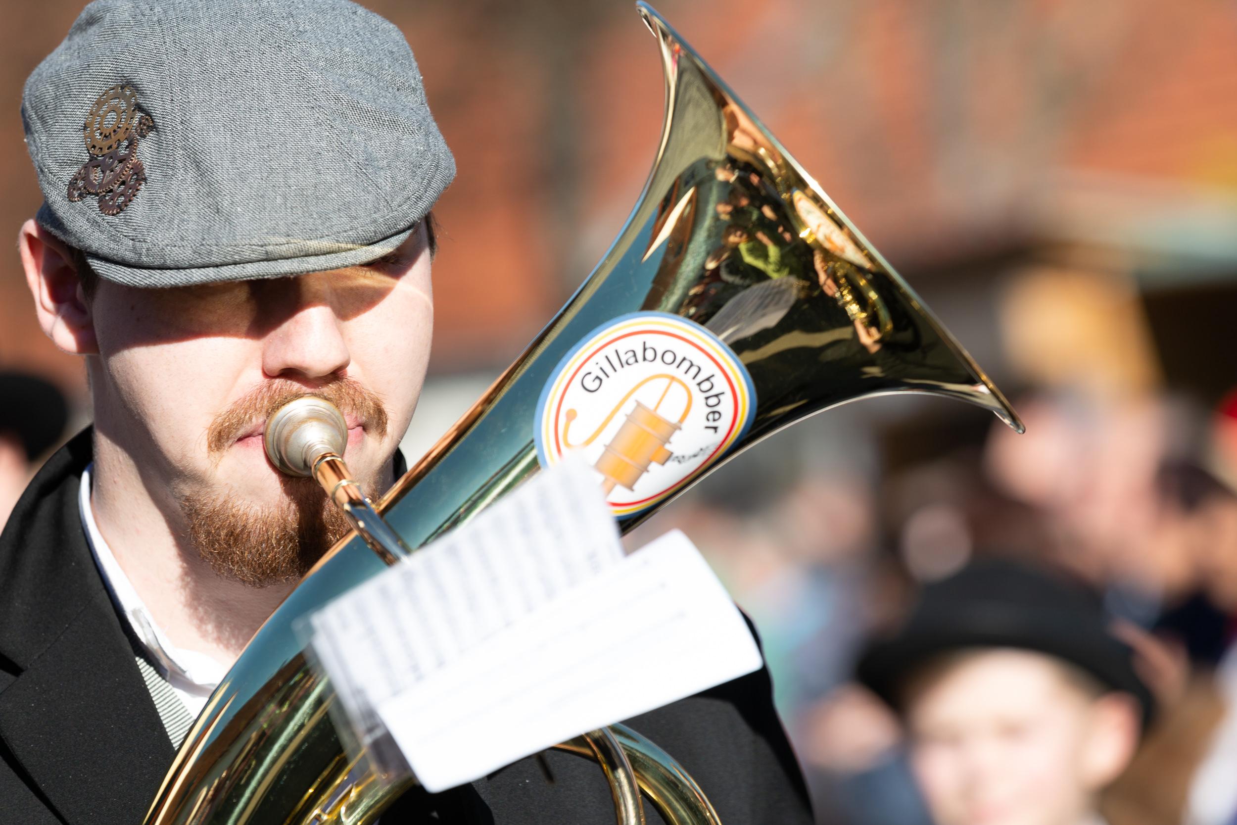 Trompeter während dem Fasnetsspiel in Burladingen.