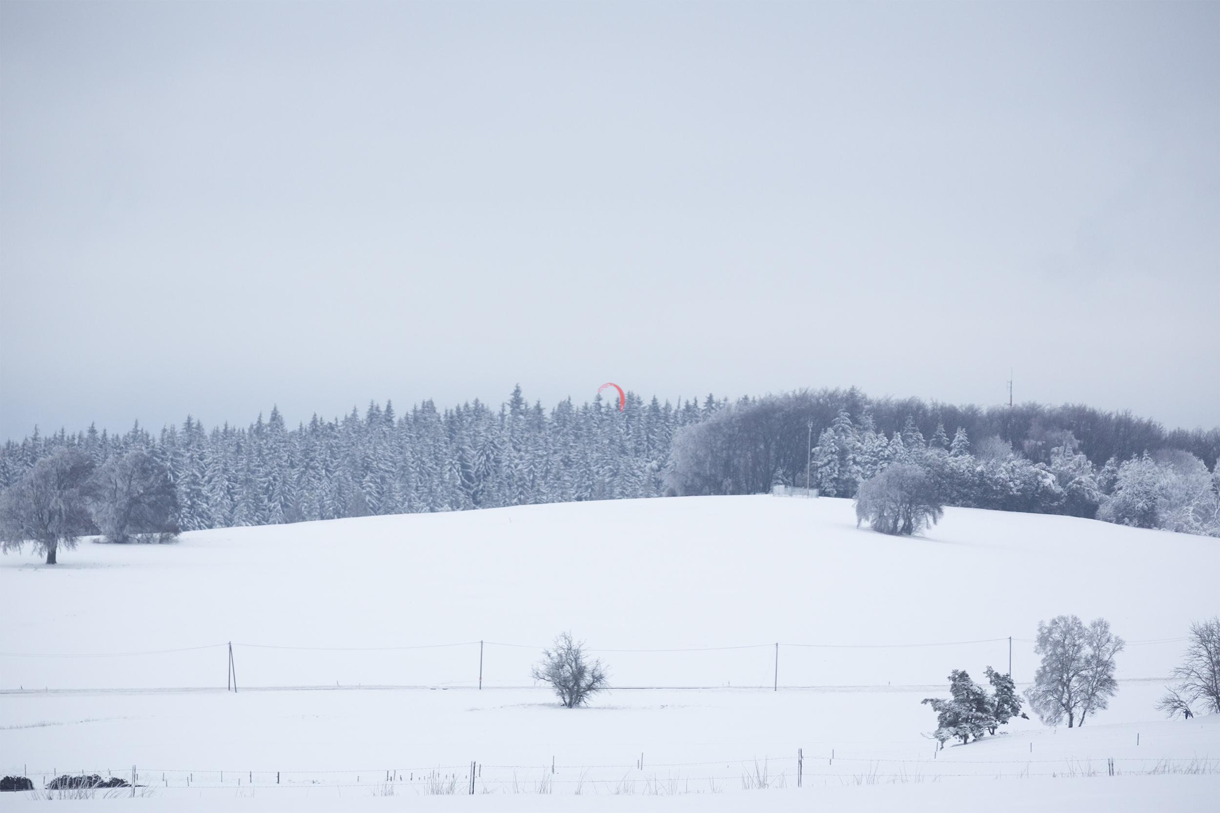 Verschneite Schwäbische Alb bei Albstadt-Ebingen.