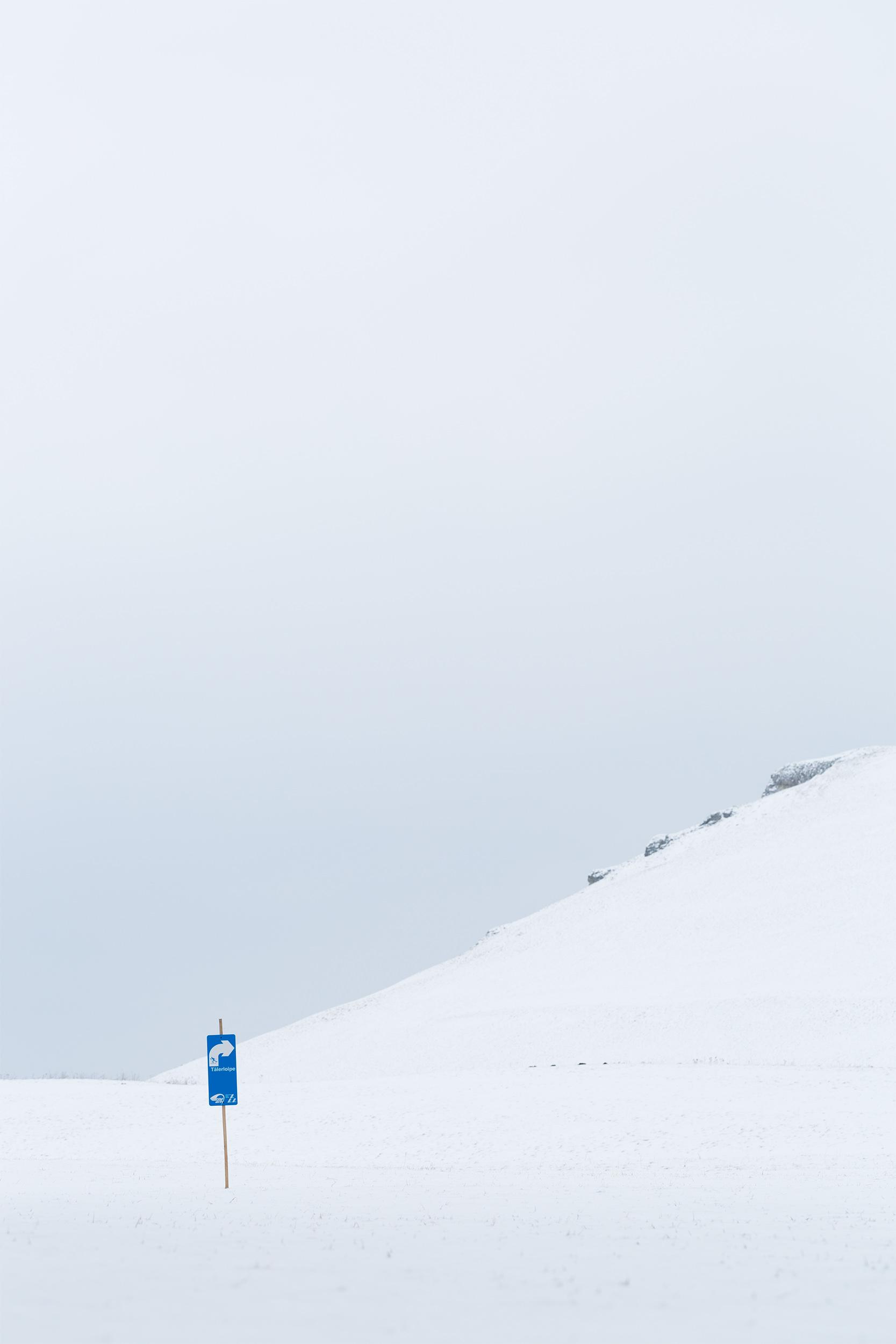 Schild für die Langlaufloipe bei Sonnenbühl-Undingen.