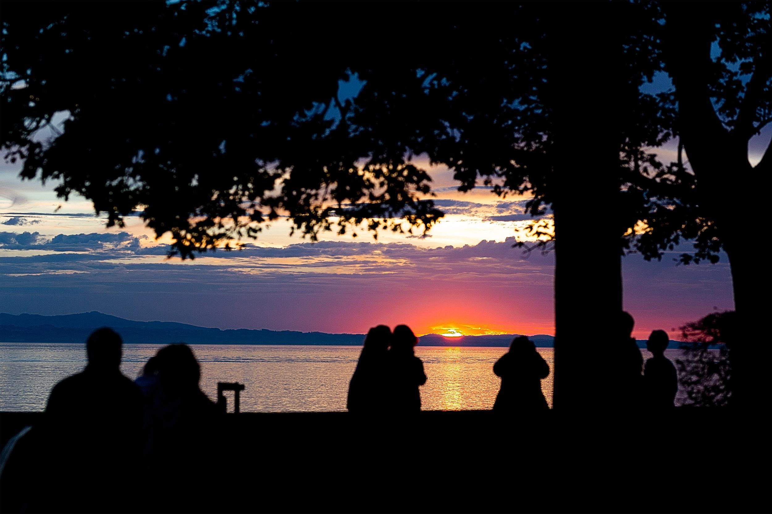 Sonnenuntergang am Bodensee bei Lindau.