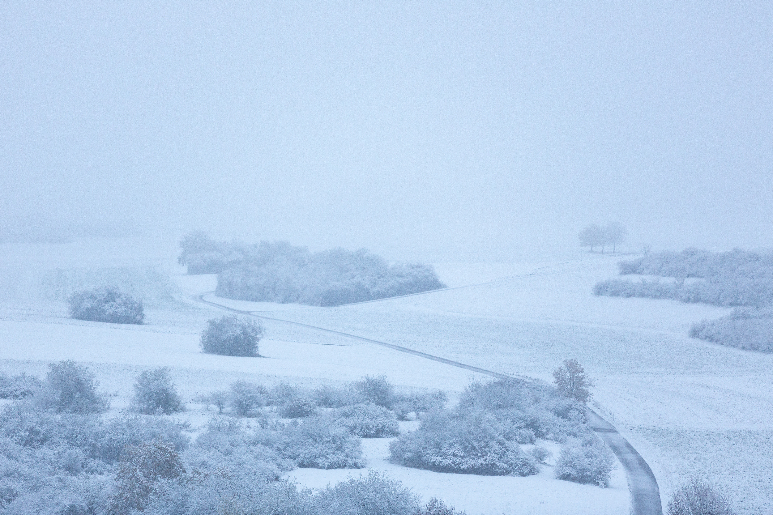 Erster Schnee auf den Ferldern der Schwäbischen Alb 2019